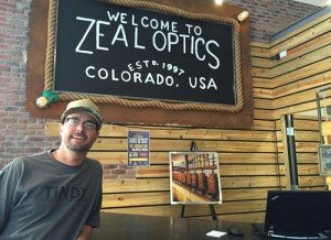 Mike Lewis at the Zeal Optics counter in Boulder.