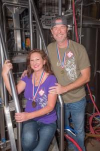 Leslie and Steve Kaczeus in their Niwot brewery