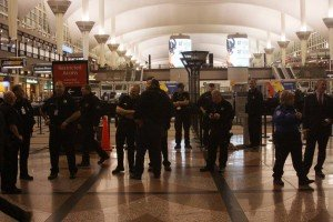Police at Denver International Airport during protests