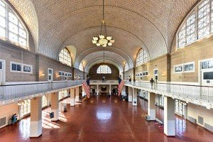 large hall space where immigrants registered at Ellis Island