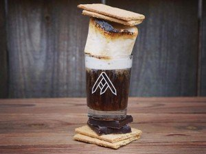 a glass of ratio beer in smores