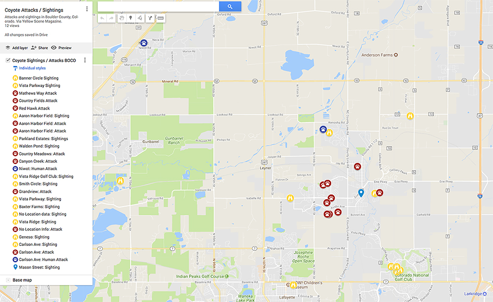 Coyote Sightings and Attacks: Google map