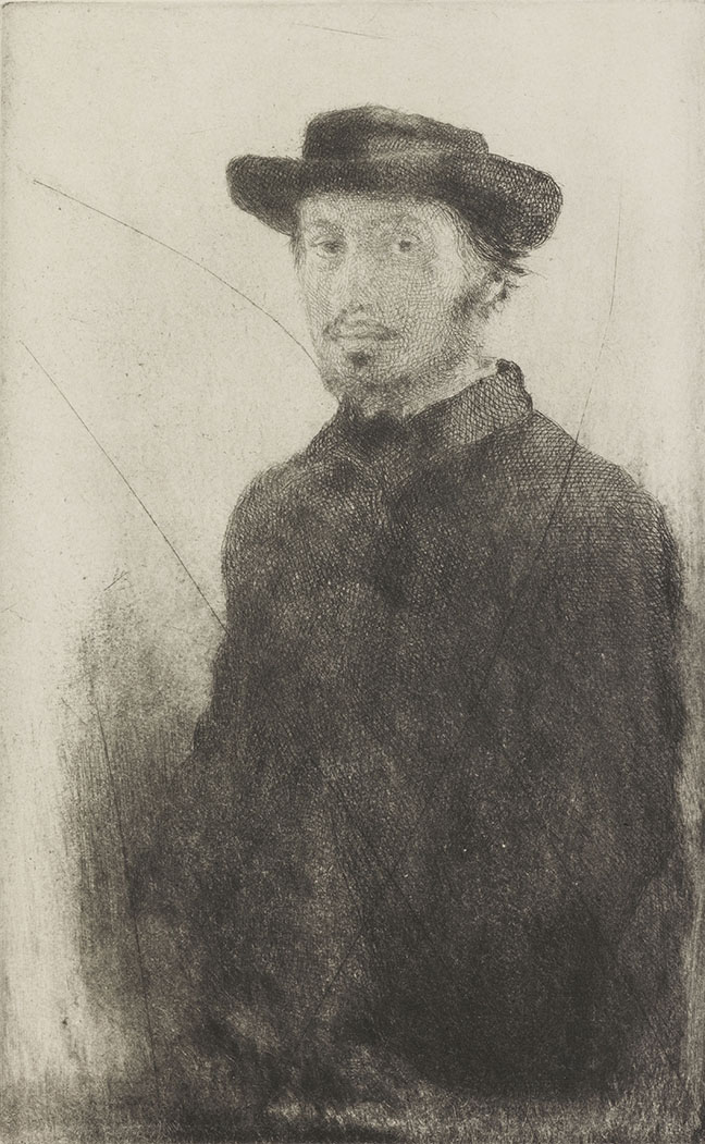 Autoportrait. Degas, Edgar (French, 1834-1917). Etching, drypoint.